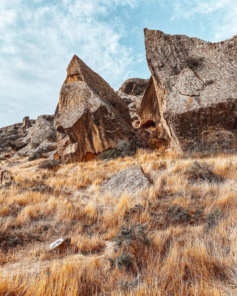 The Prehistoric Rock Art Petroglyphs in Gobustan Near Baku, Azerbaijan