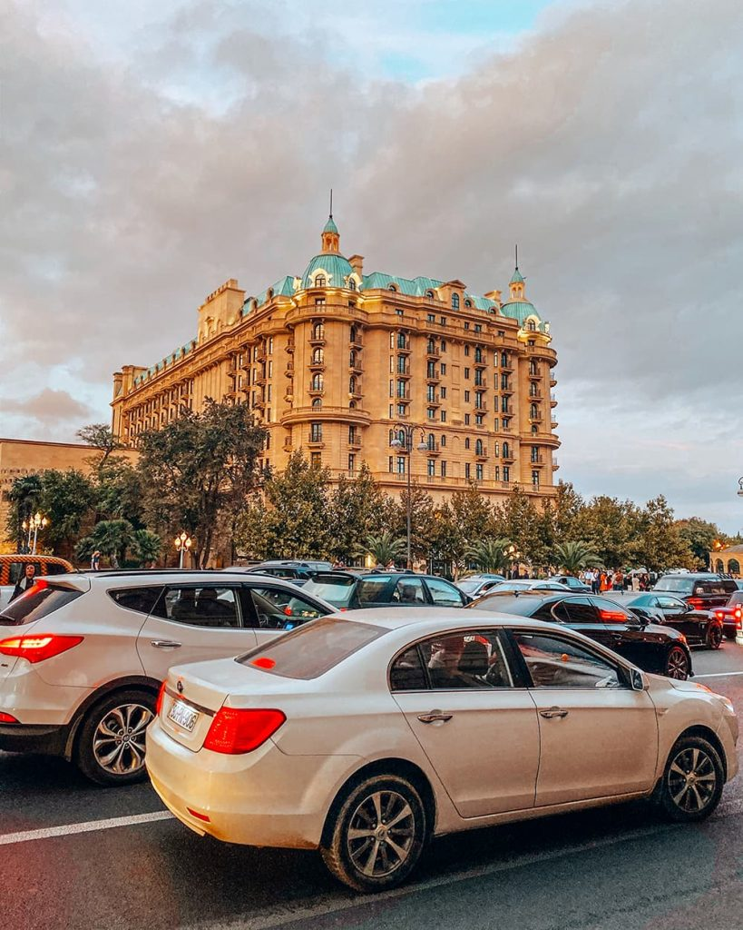 A Building and Some Cars on the Street in Baku, Azerbaijan
