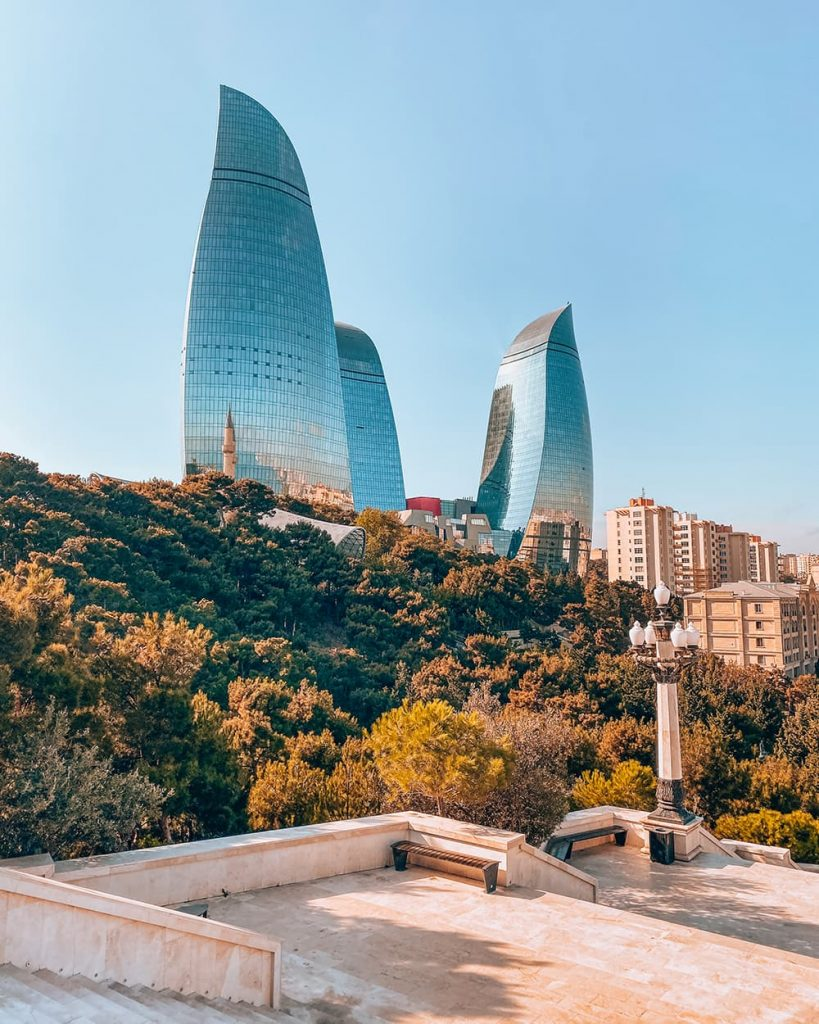 The Flame Towers Seen From Highland Park in Baku, Azerbaijan