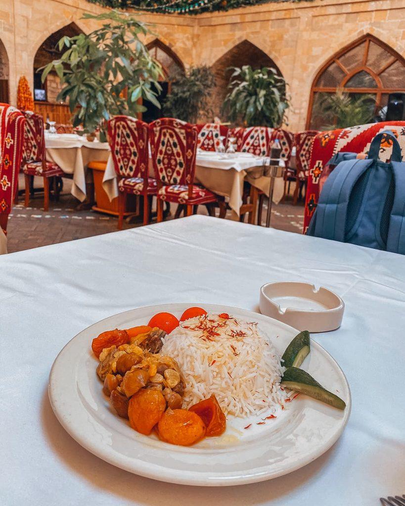 Local Dish Plov at a Restaurant in Baku, Azerbaijan
