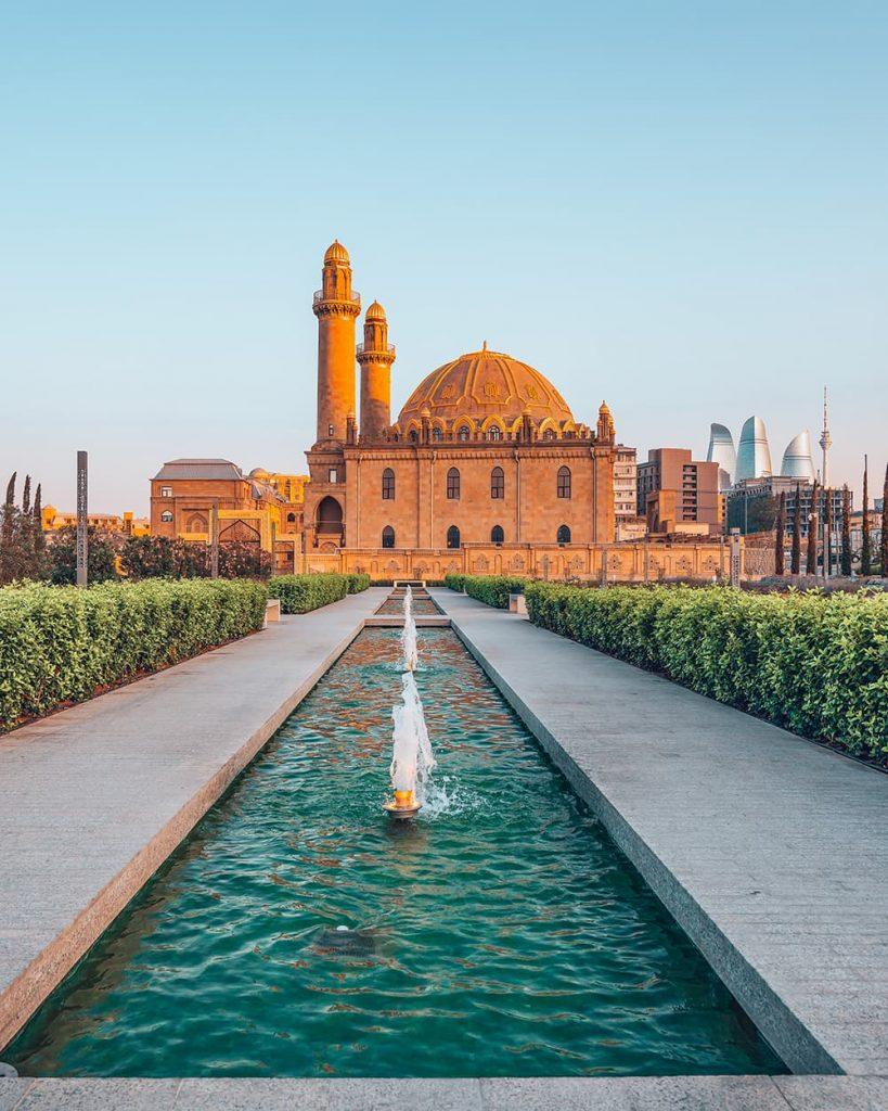 Fountain in Front of Taza Pir Mosque in Baku, Azerbaijan