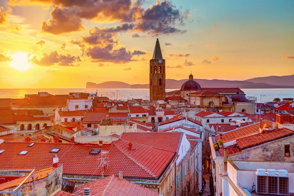 Sunset Over the City of Alghero in Sardinia, Italy