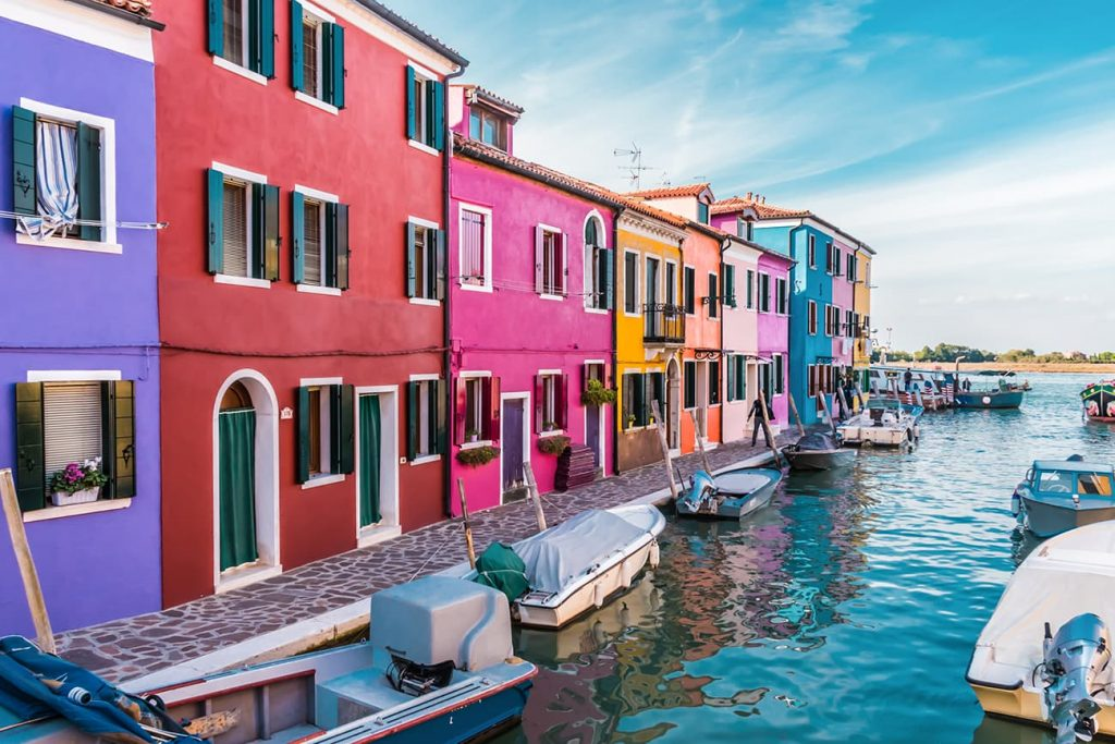 Colorful Houses by the Water in Burano, Venice, Italy
