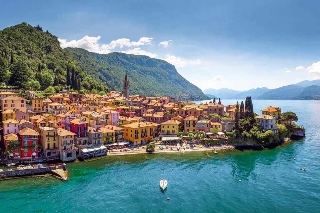 A Colorful Town Surrounded by Water in Lake Como, Italy