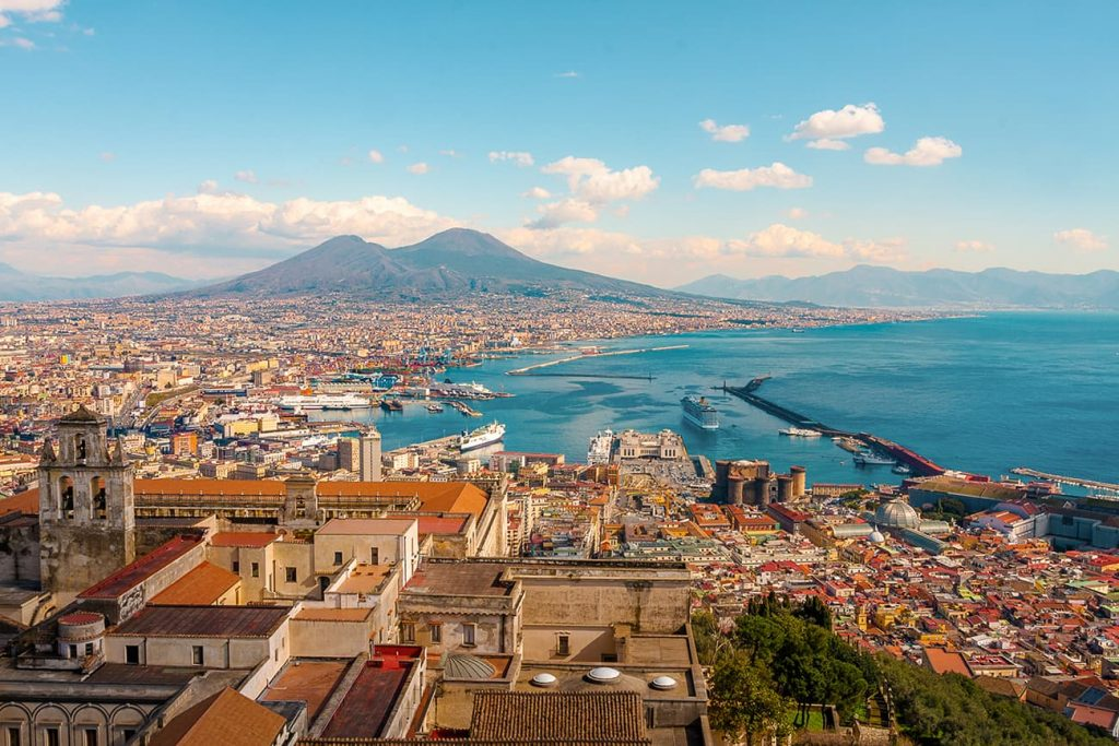 Mount Vesuvius and the City of Naples in Italy