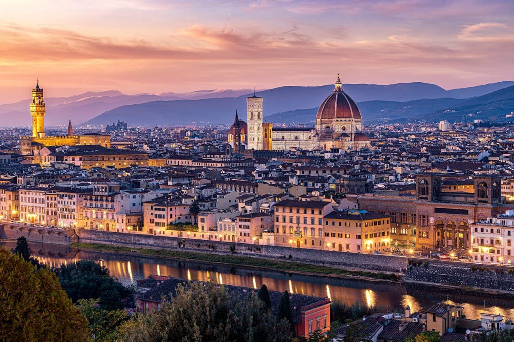 The View From Piazzale Michelangelo During Sunset in Florence, Italy