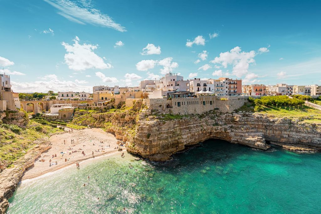 The Cliffs of Polignano a Mare in Puglia, Italy