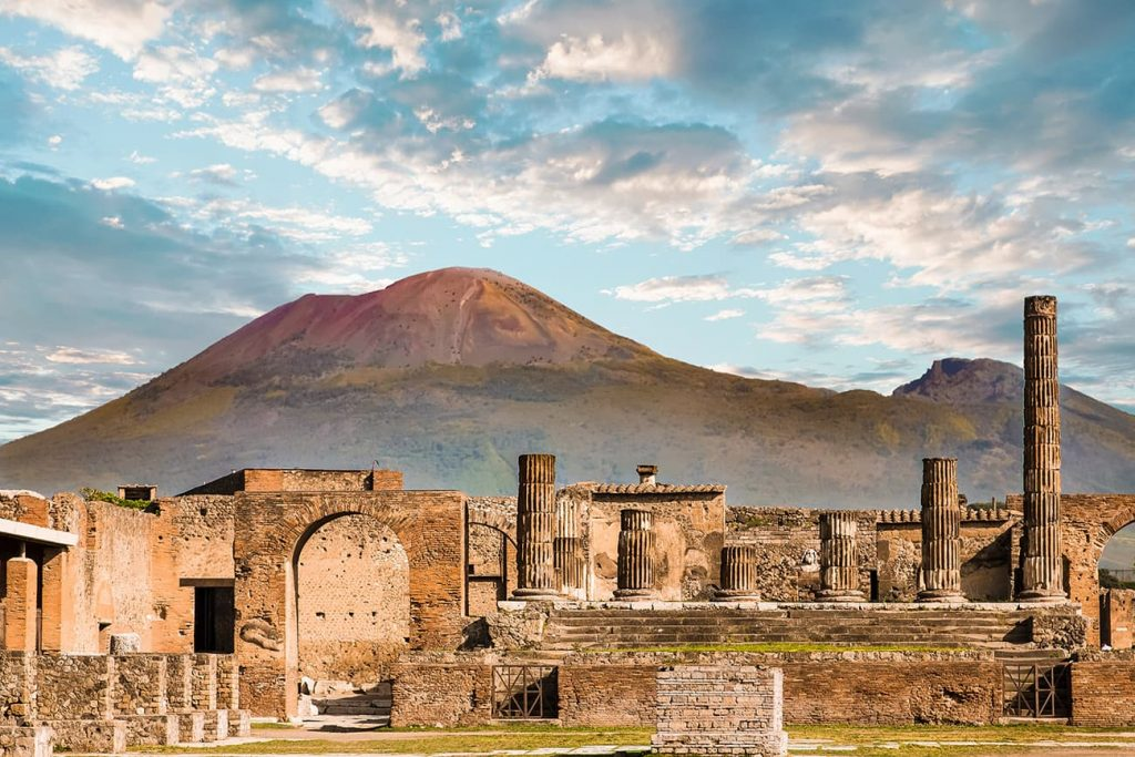 The Ancient City of Pompeii and Mount Vesuvius in Italy