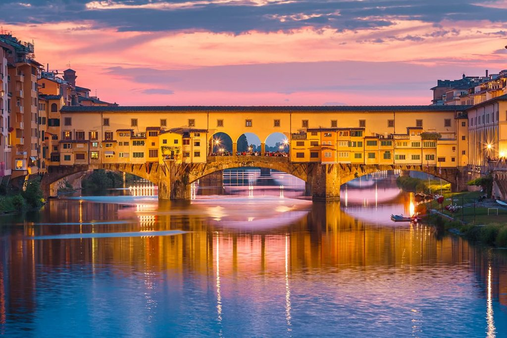 Ponte Vecchio During Sunset in Florence, Italy