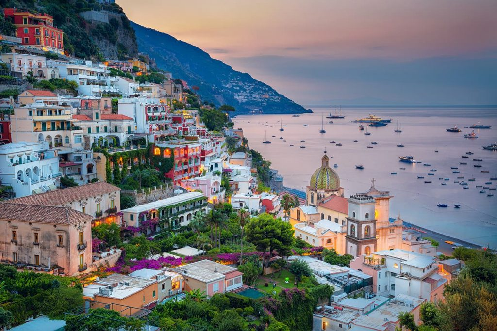 The Coastal Scenery of Positano in Amalfi Coast, One of the Famous Landmarks in Italy