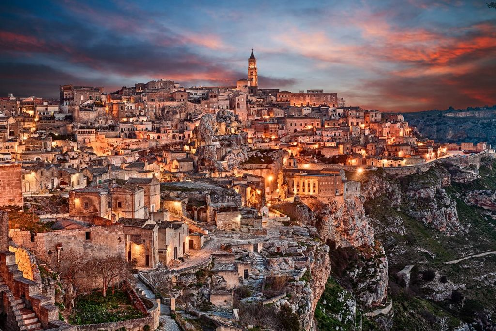 Sassi di Matera Lit Up at Night in Italy