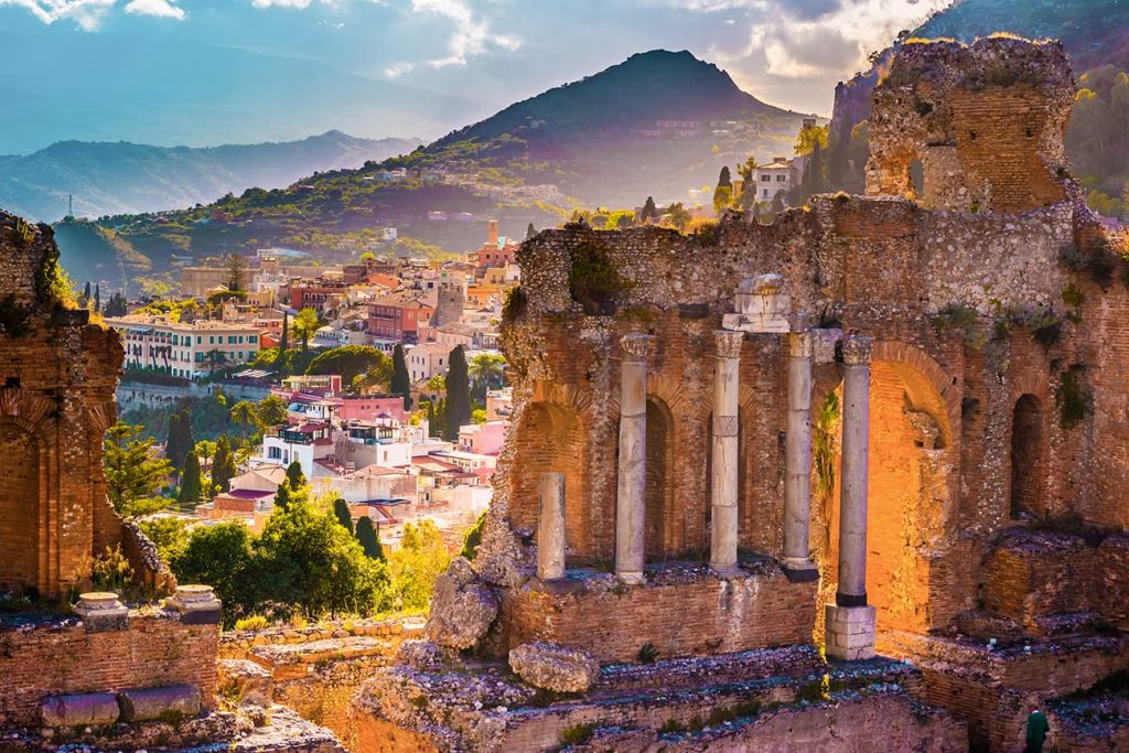 The Ancient Greek Theater in Taormina, Sicily, Italy