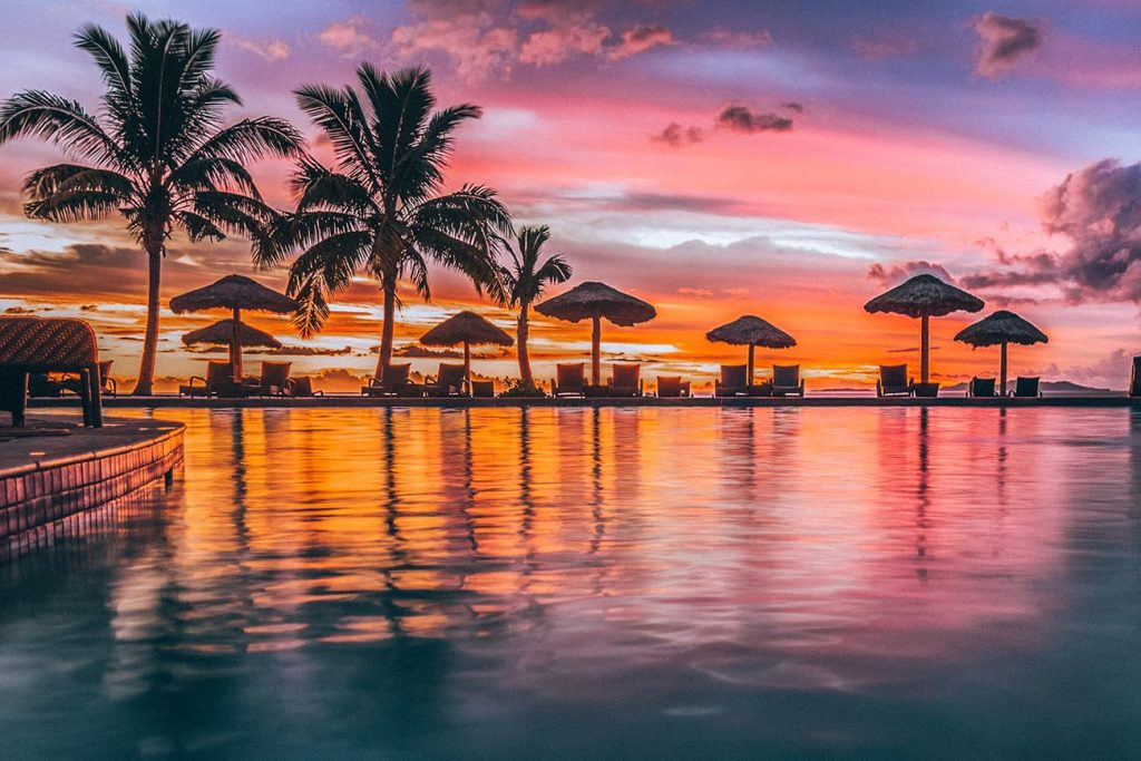 Palm Trees and Sunset in Denarau Island in Fiji