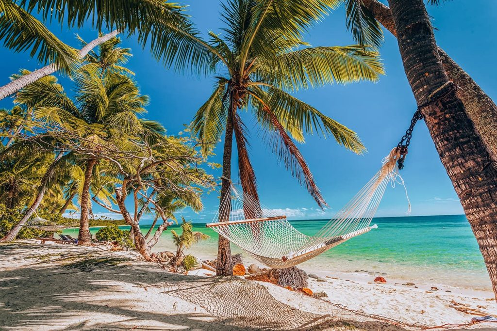 Palm Trees and a Hammock on a Beach in Fiji