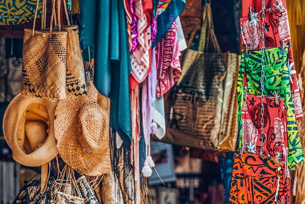 Hats and Bags at the Handicraft Market in Nadi, Fiji