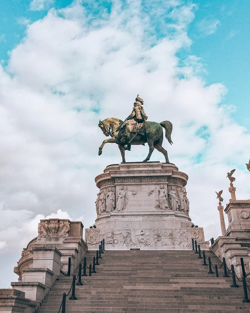 The Vittorio Emanuele II Statue in Piazza Venezia in Rome, Italy