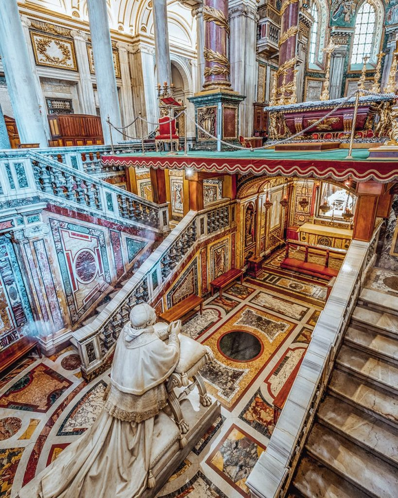 Statues and Stairs Inside the Basilica di Santa Maria Maggiore in Rome, Italy