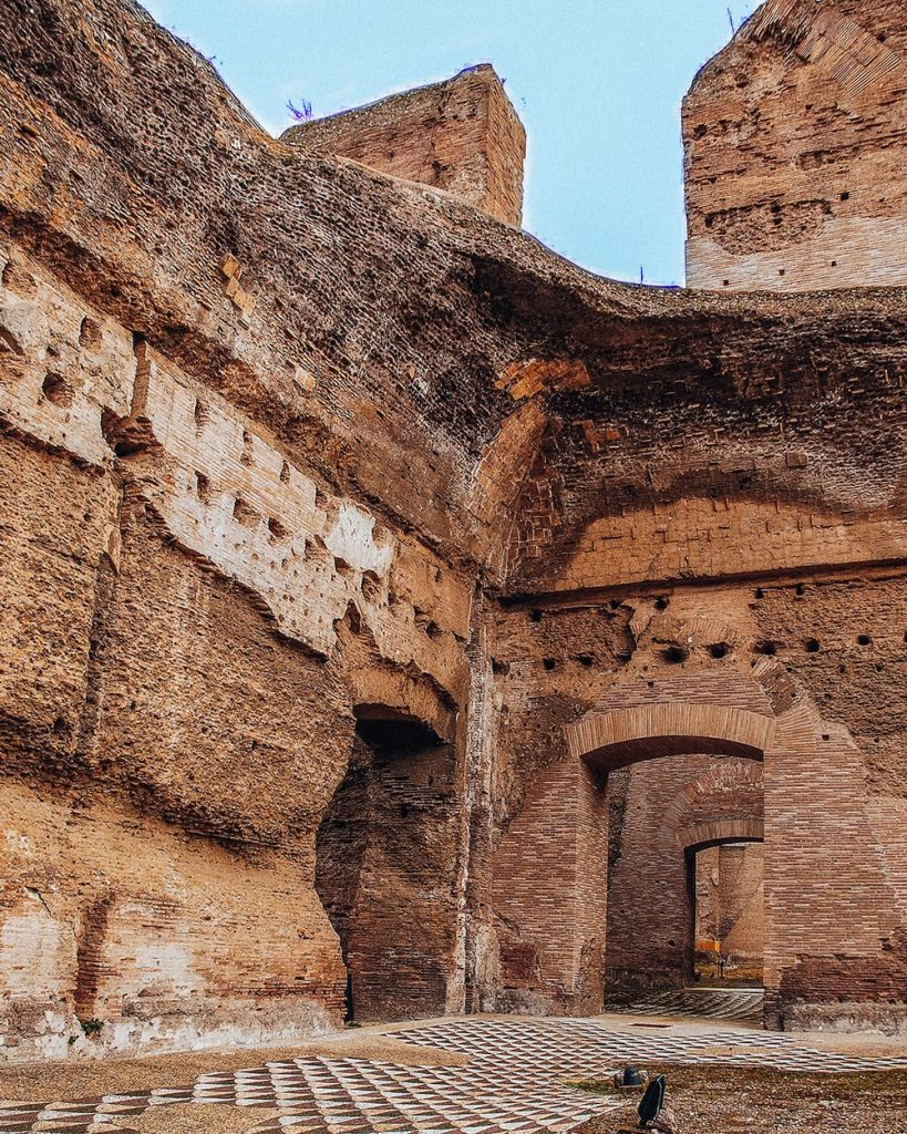 The Ancient Ruins of Baths of Caracalla in Rome, Italy