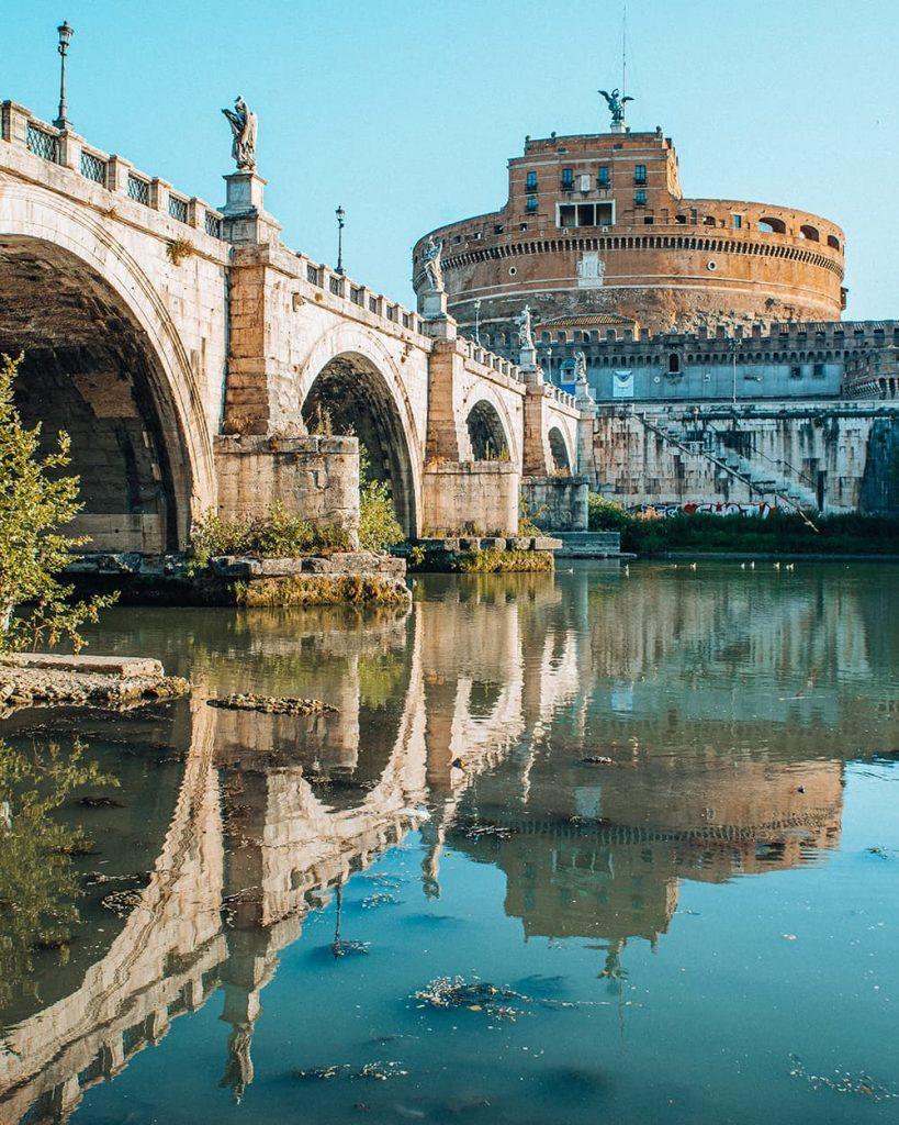 Castel Sant'Angelo Reflecting in River Tiber in Rome, Italy