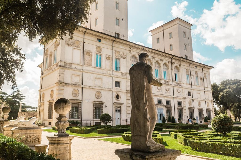 A Statue in Front of Galleria Borghese in Rome, Italy