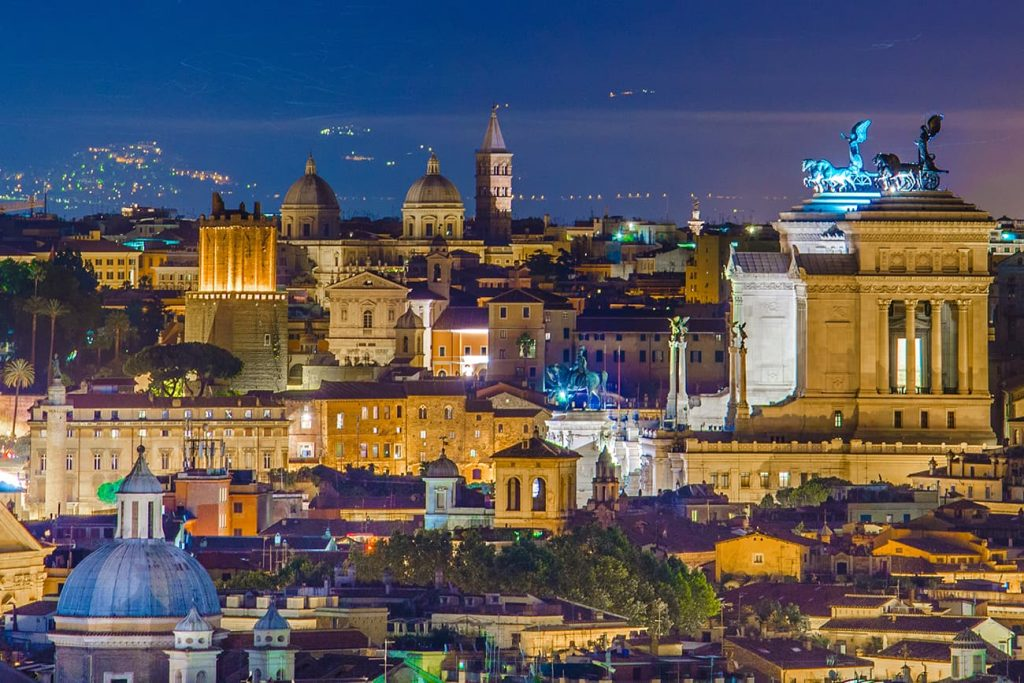 The Night View From Janiculum Hill in Rome, Italy