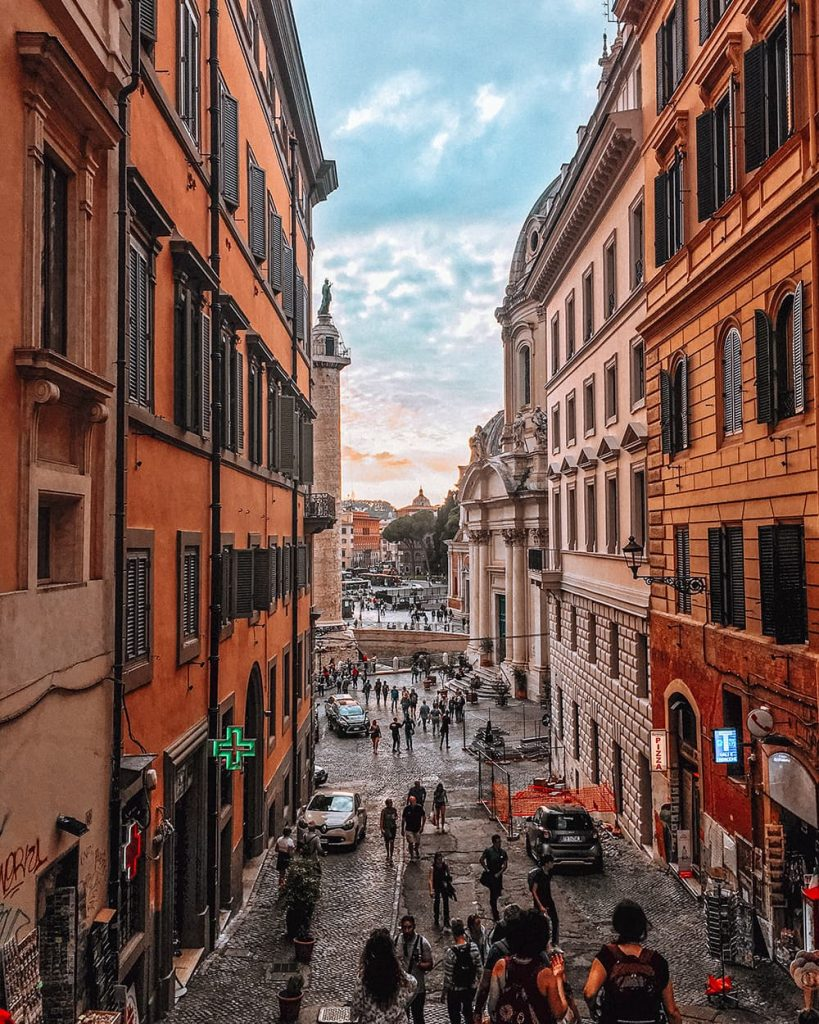 The Colorful Buildings of the Historic Center of Rome, Italy