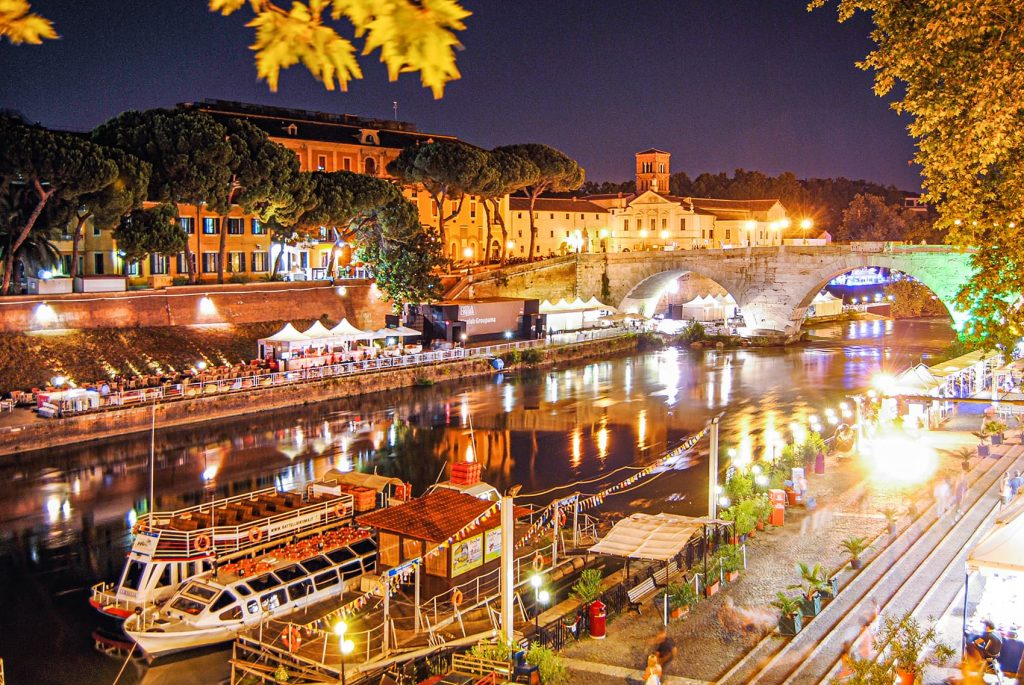 Isola Tiberina Lit Up at Night in Rome, Italy