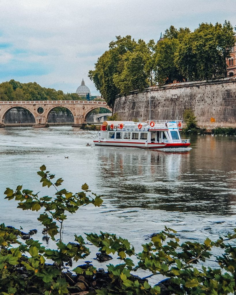 A Boat on the Tiber River in Rome, Italy