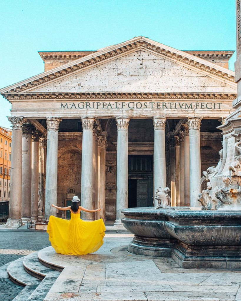 A Girl in a Yellow Dress Standing in Front of the Pantheon in Rome, Italy