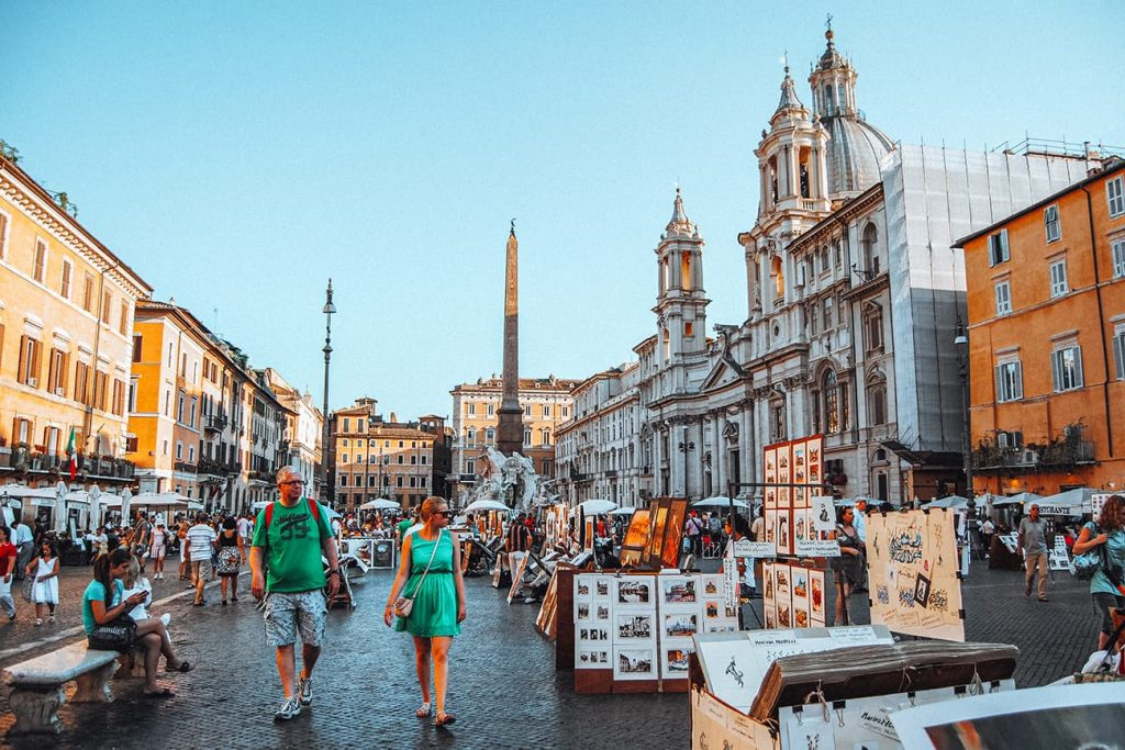 Tourists Walking Inside Piazza Navona in Rome, Italy