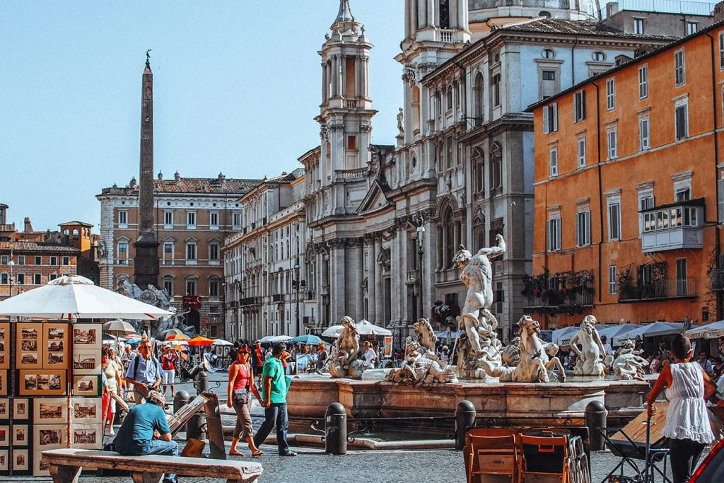 Statues and Fountains in Piazza Navona in Rome, Italy