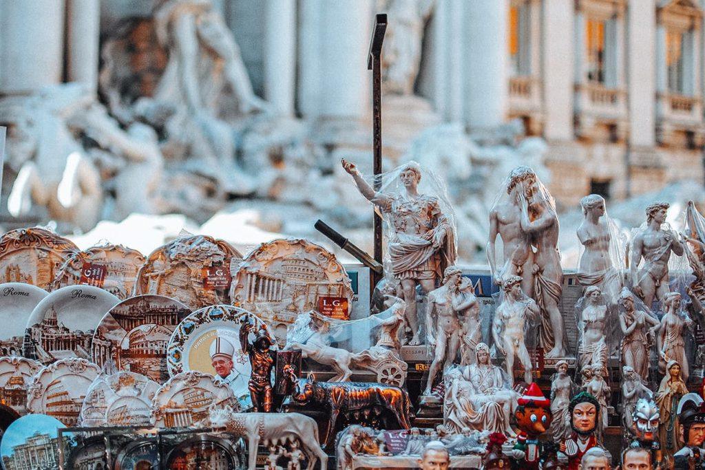 Souvenirs at the Trevi Fountain in Rome, Italy