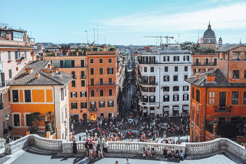 The View From the Top of the Spanish Steps in Rome, Italy
