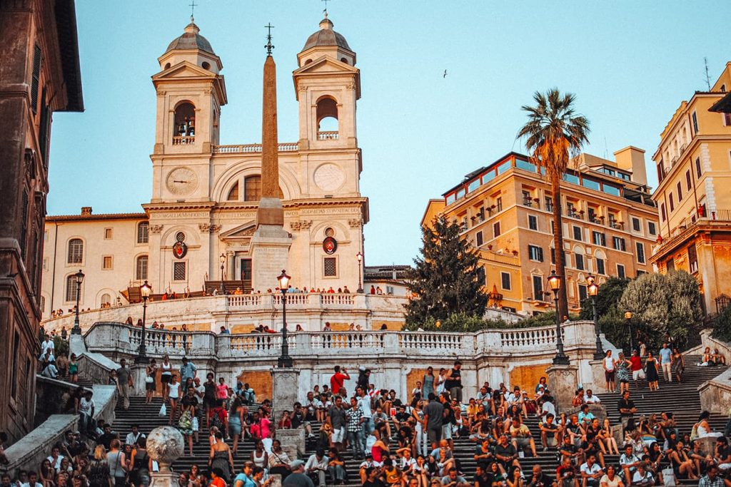 Tourists on the Spanish Steps in Rome, Italy