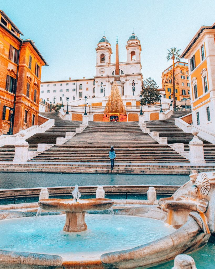 A Fountain in Front of an Empty Spanish Steps in Rome, Italy