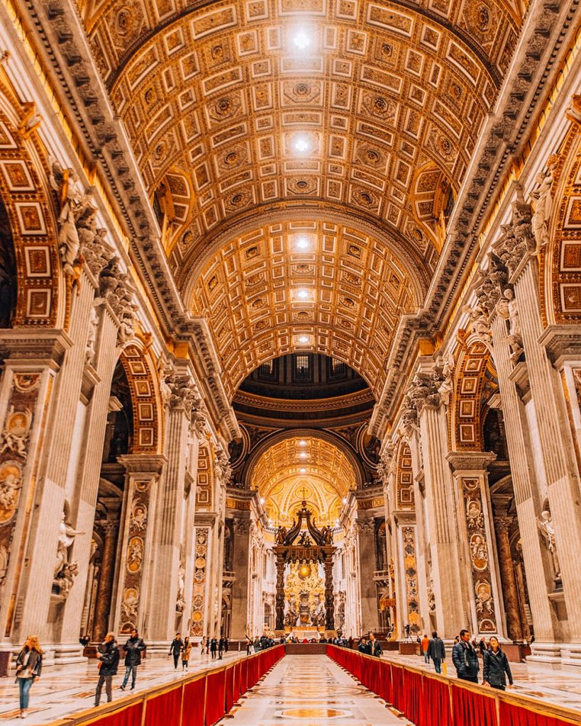 Inside the St. Peter's Basilica in Vatican City, Italy