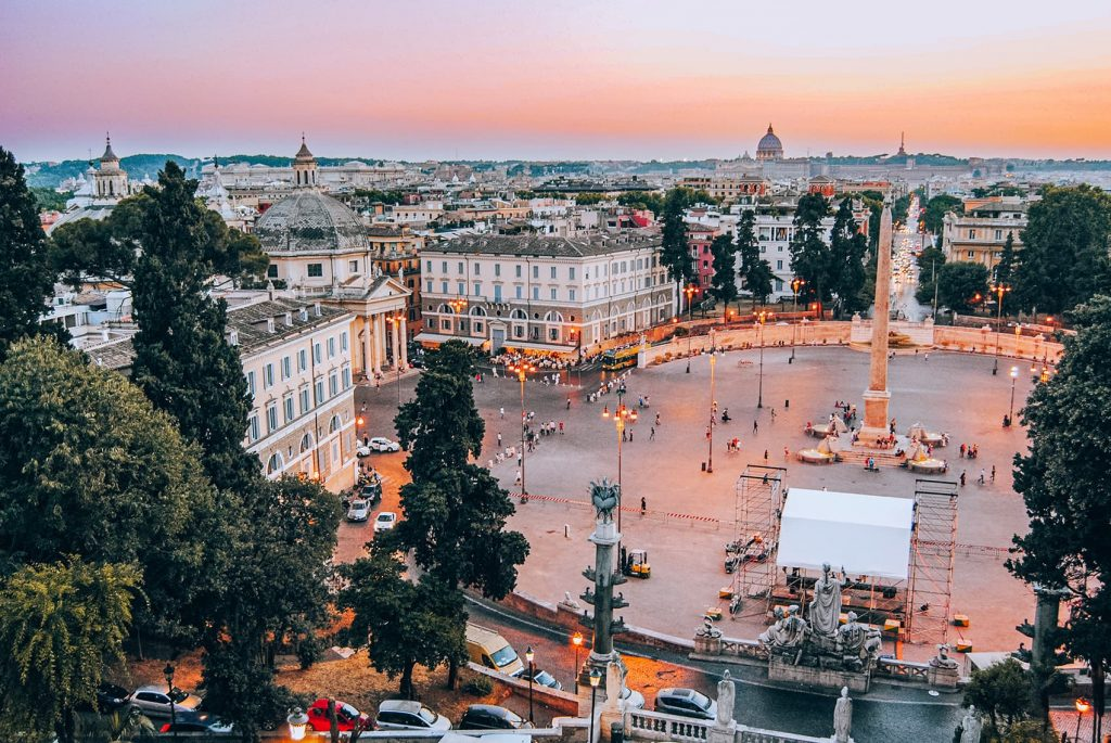 The Sunset View from Terrazza del Pincio in Rome, Italy