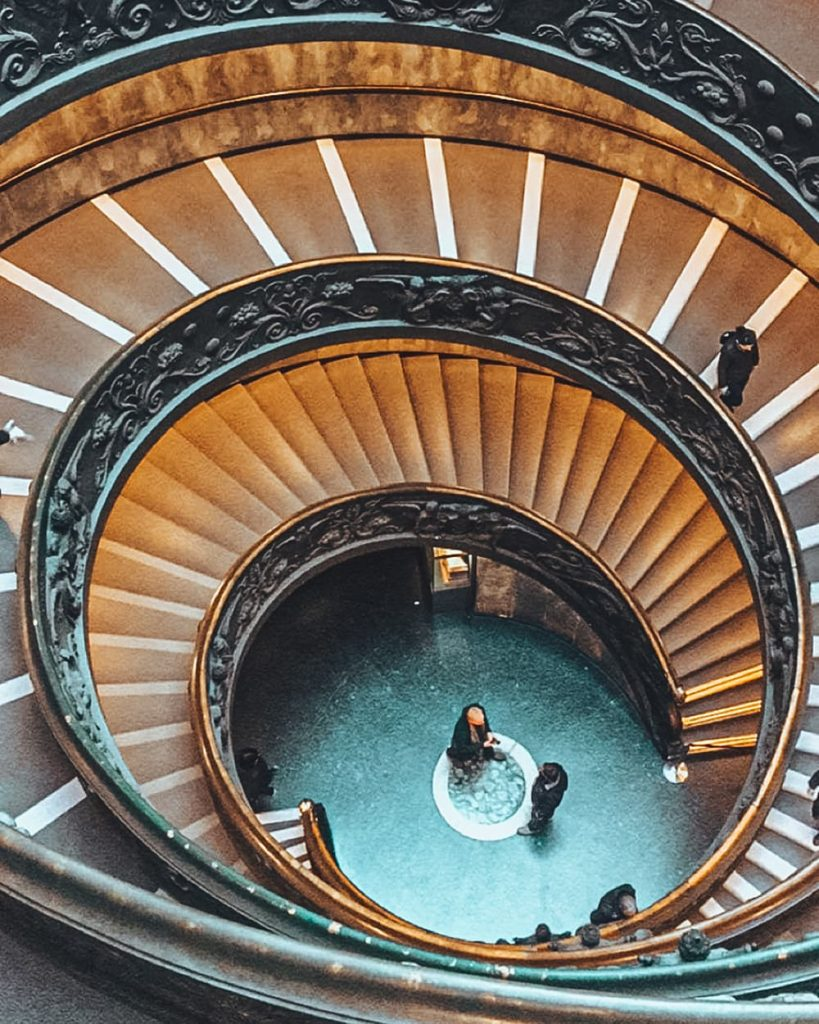 A Spiralling Staircase Inside the Vatican Museums in Vatican City, Italy