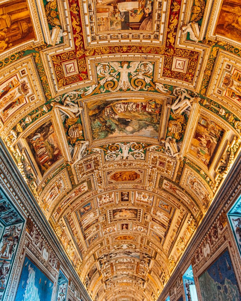 A Painted Ceiling in the Vatican Museums in Vatican City, Italy