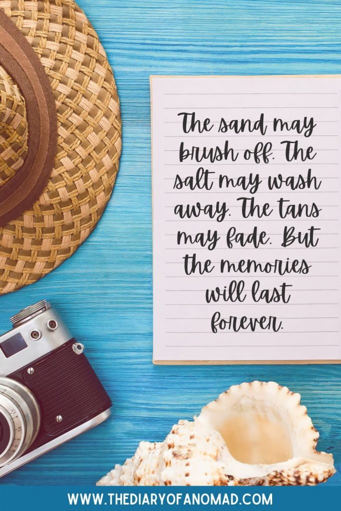 A Handwritten Note About Friendship Next to a Sunhat, Camera, and Seashell