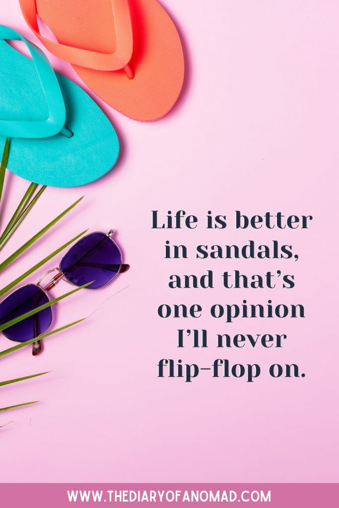 Flip Flops and Sunglasses Next to Text