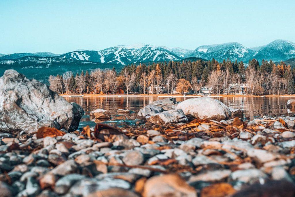 Mountains Behind Whitefish Lake in Whitefish, Montana