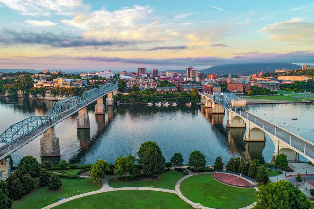 Aerial View of Chattanooga in Tennessee, USA