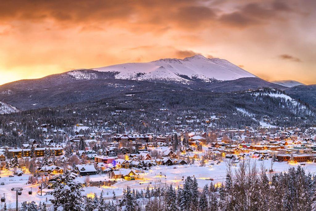 Skyline of Breckenridge, Colorado in the Winter
