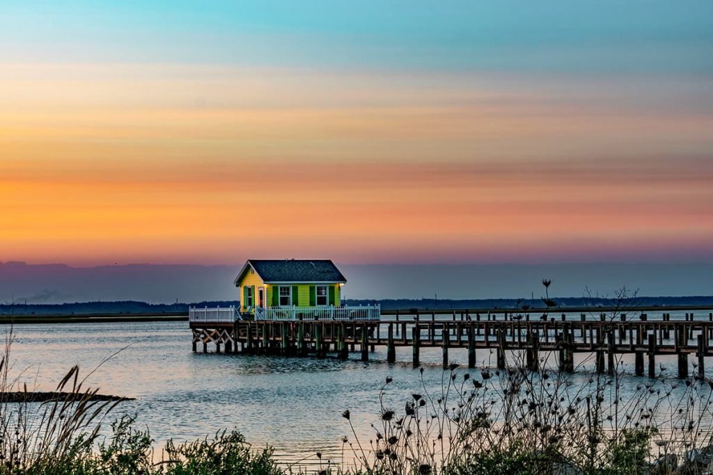 Sunset Over Fishing House in Chincoteague Bay, Virginia