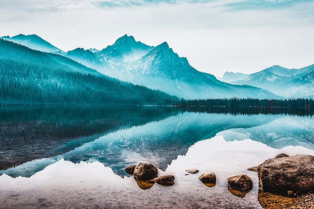 Mountains Reflecting in the Water in Stanley, Idaho