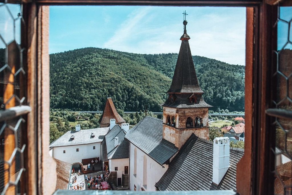A View of Orava Castle in Slovakia From a Window