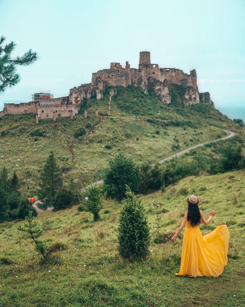 Girl Standing in Front of Spis Castle in Slovakia