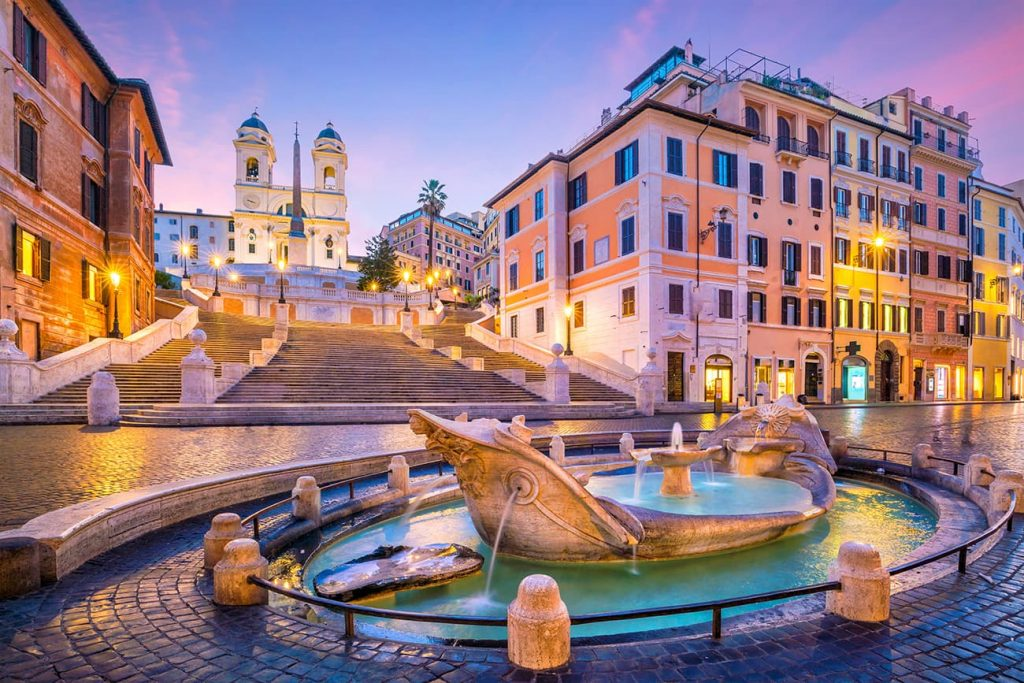 The Spanish Steps in Rome During Sunrise